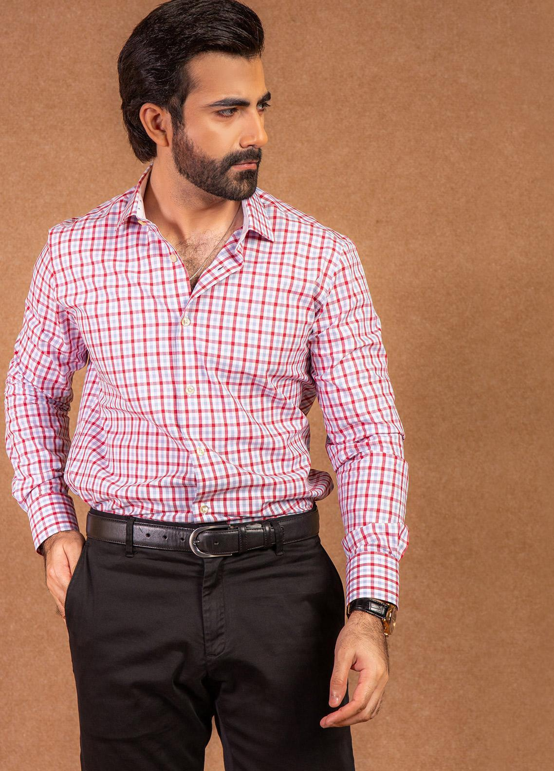Brumano Cotton Formal Shirts for Men - Pink BRM-607