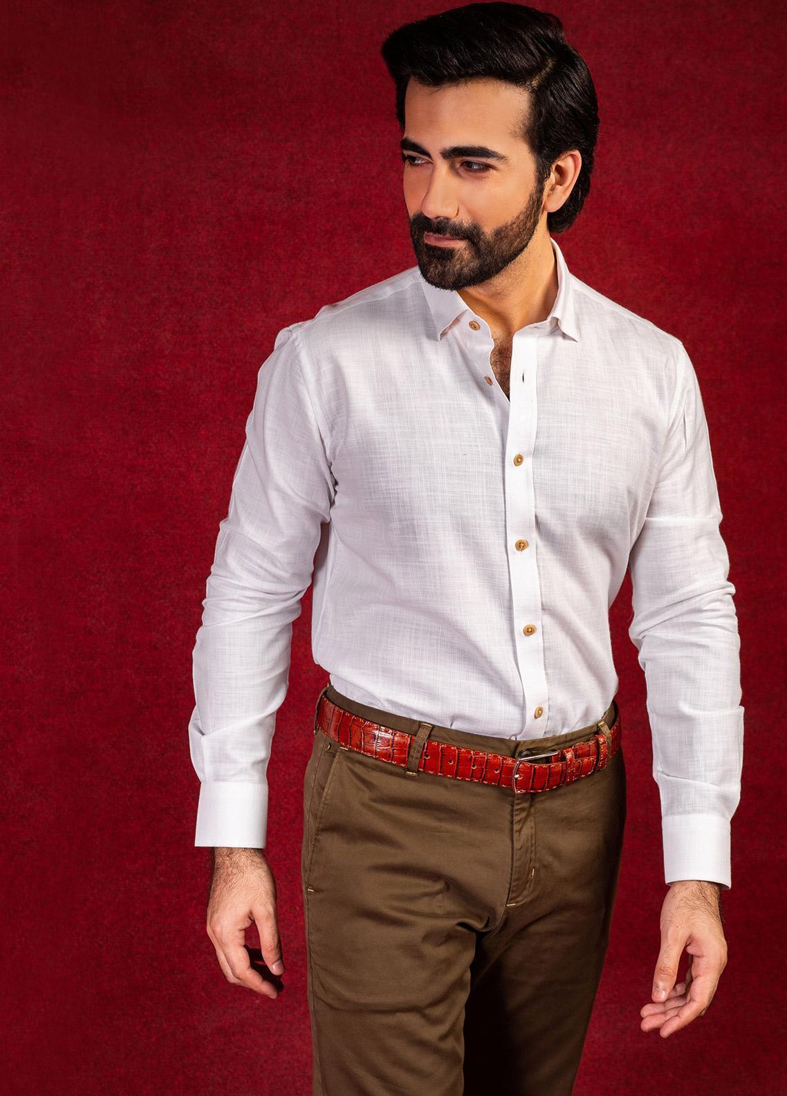 Brumano Cotton Formal Shirts for Men - White BRM-654