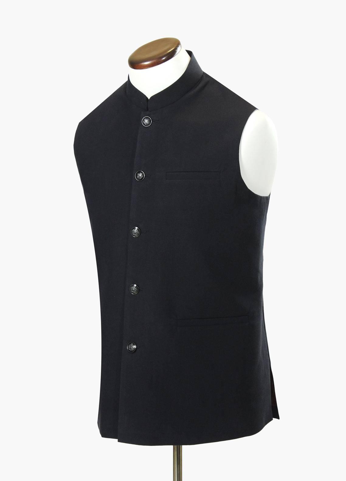 Brumano Cotton Formal Waistcoat for Men - Black BRM-688