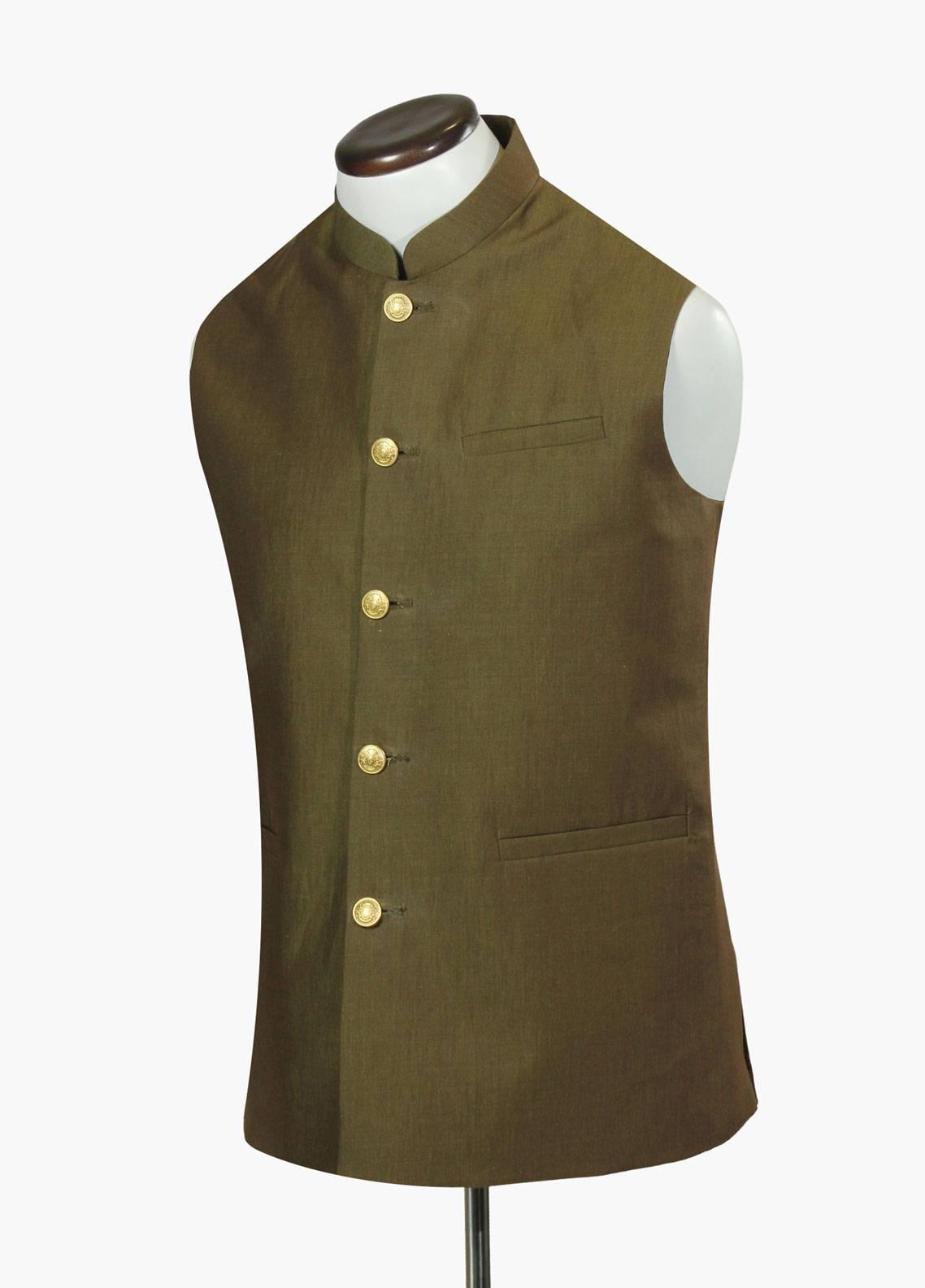 Brumano Cotton Formal Men Waistcoat - Green BRM-695