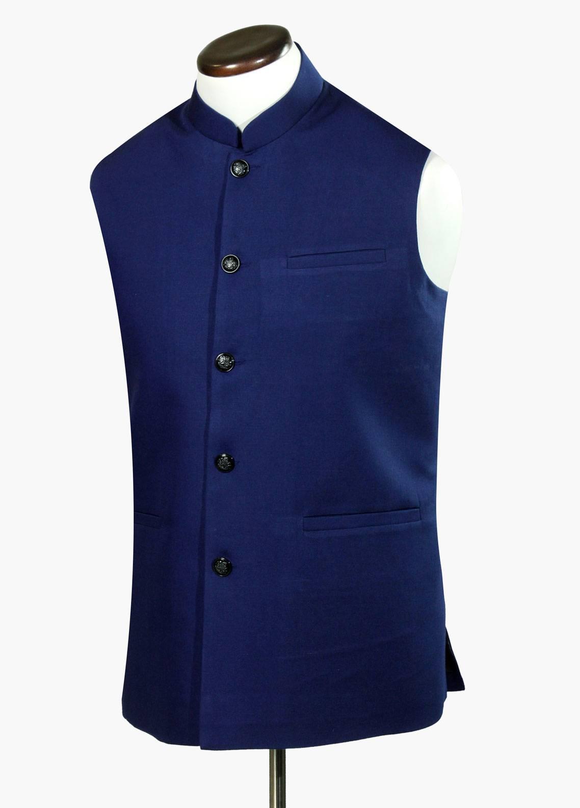 Brumano Linen Formal Waistcoat for Men - Royal Blue BRM-745