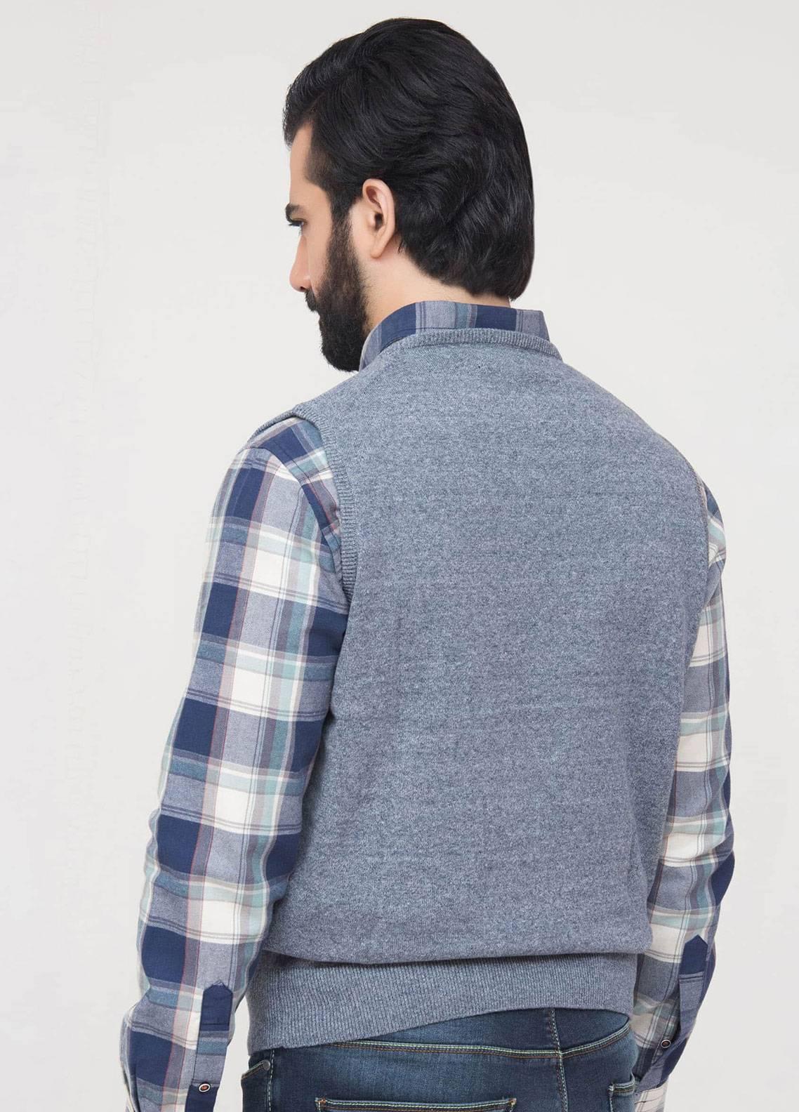 Brumano Cotton Sleeveless Men V-Neck Sweaters - Blue SL-301