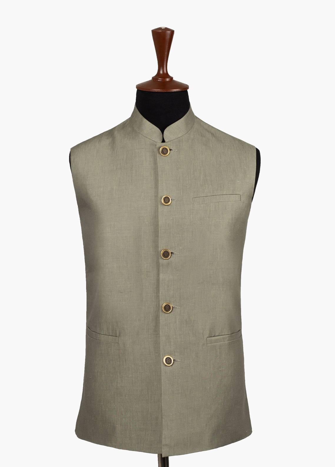 Brumano Linen Formal Waistcoat for Men - Green BRM-531