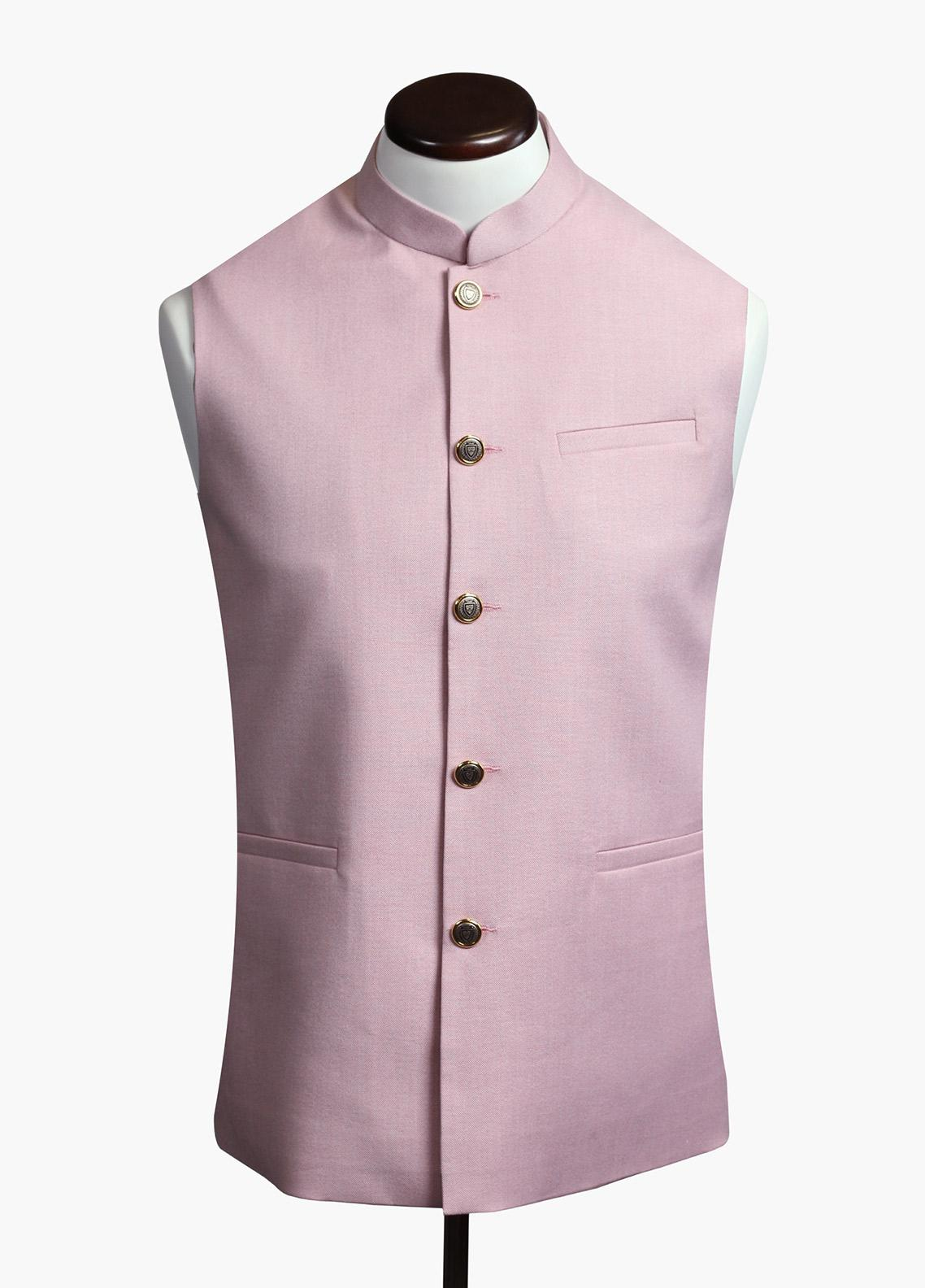 Brumano Cotton Formal Men Waistcoat - Pink BRM-743
