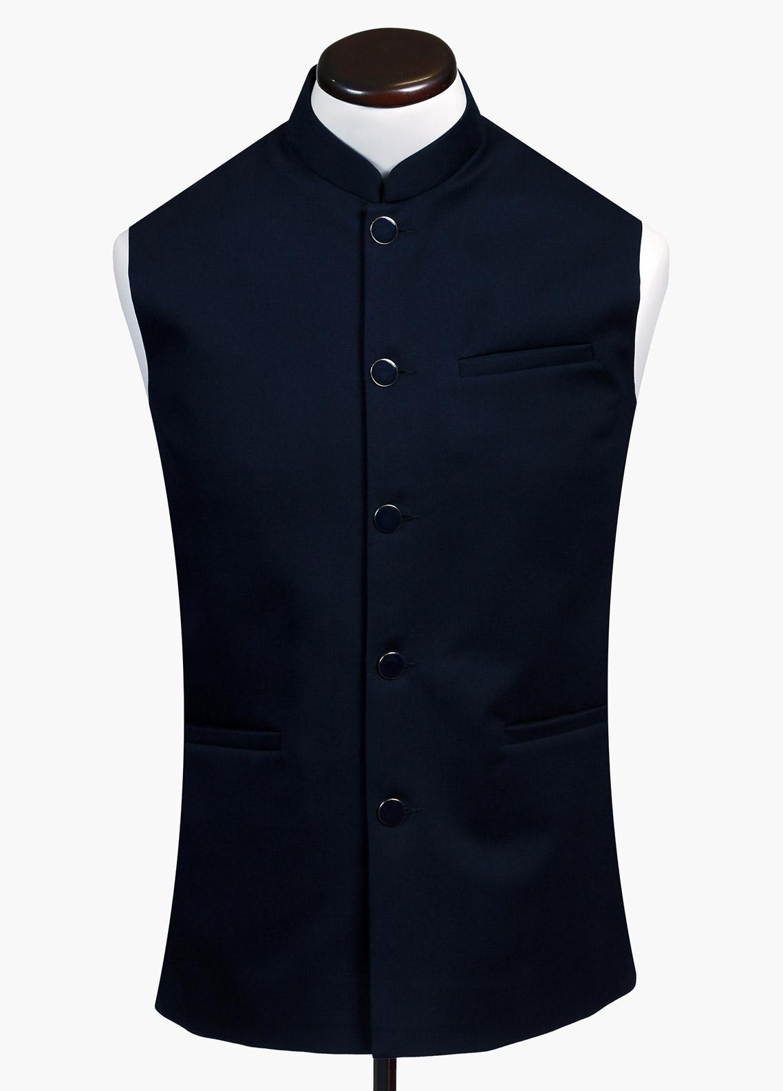 Brumano Cotton Formal Waistcoat for Men - Navy Blue BRM-748