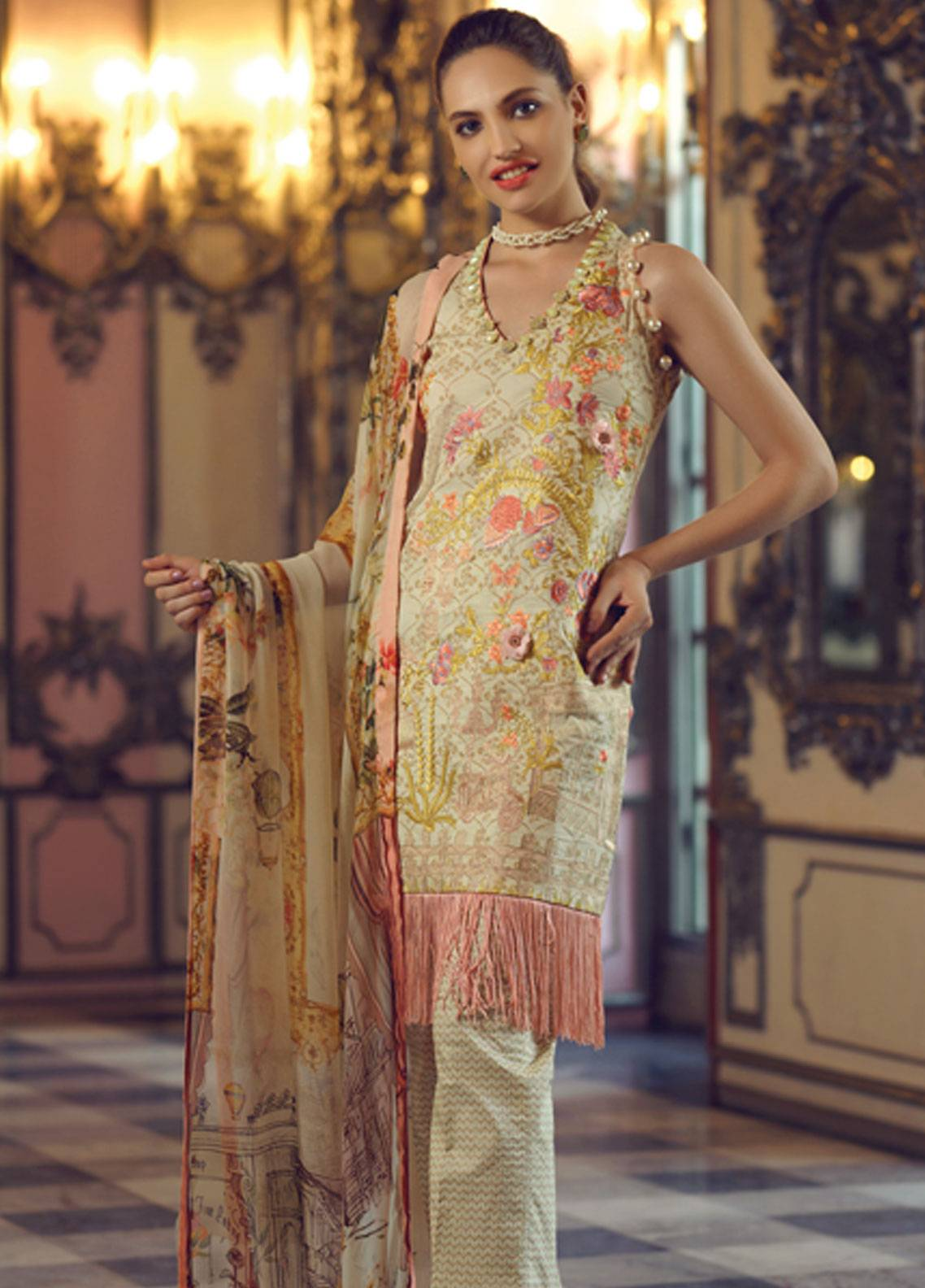 Rang Rasiya Carnation Embroidered Lawn Unstitched 3 Piece Suit RRC19L 705A - Spring / Summer Collection