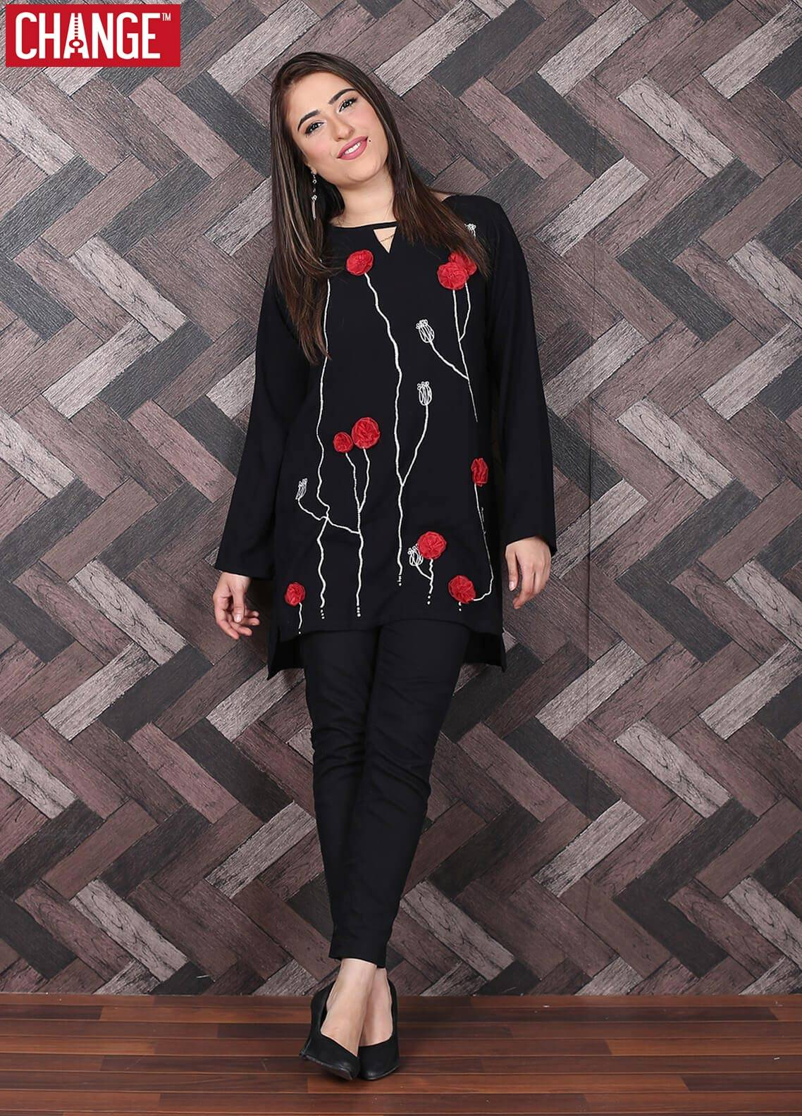Change Embroidered Cotton Stitched Kurtis CW 1789 Black