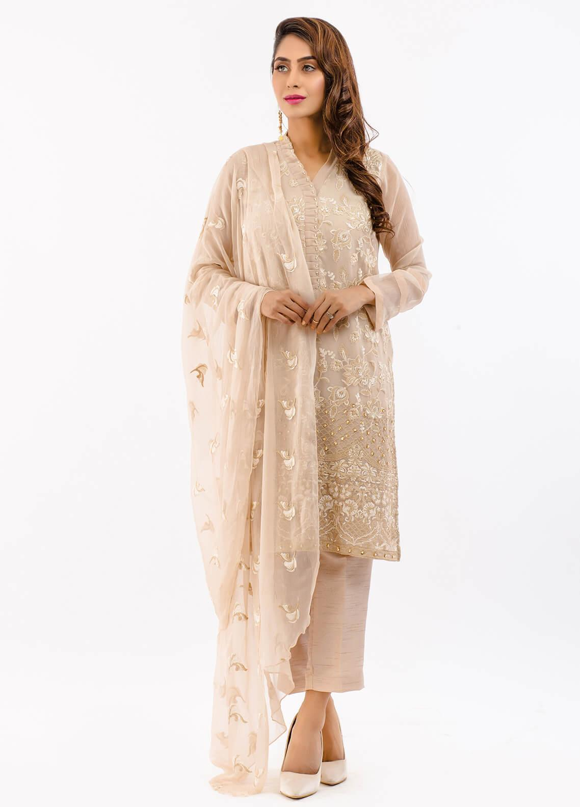 Change Embroidered Chiffon Stitched 3 Piece Suit ECH96 FAWN