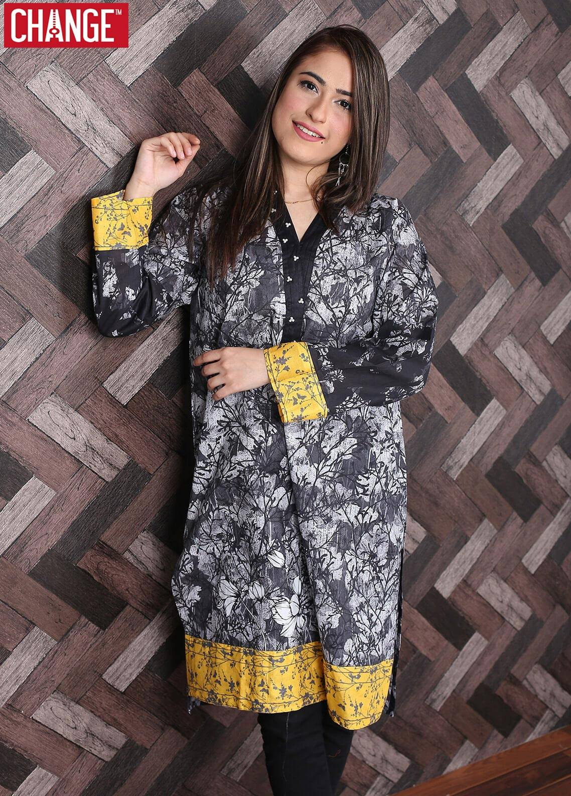 Change Embroidered Lawn Stitched Kurtis IDP 13 Black