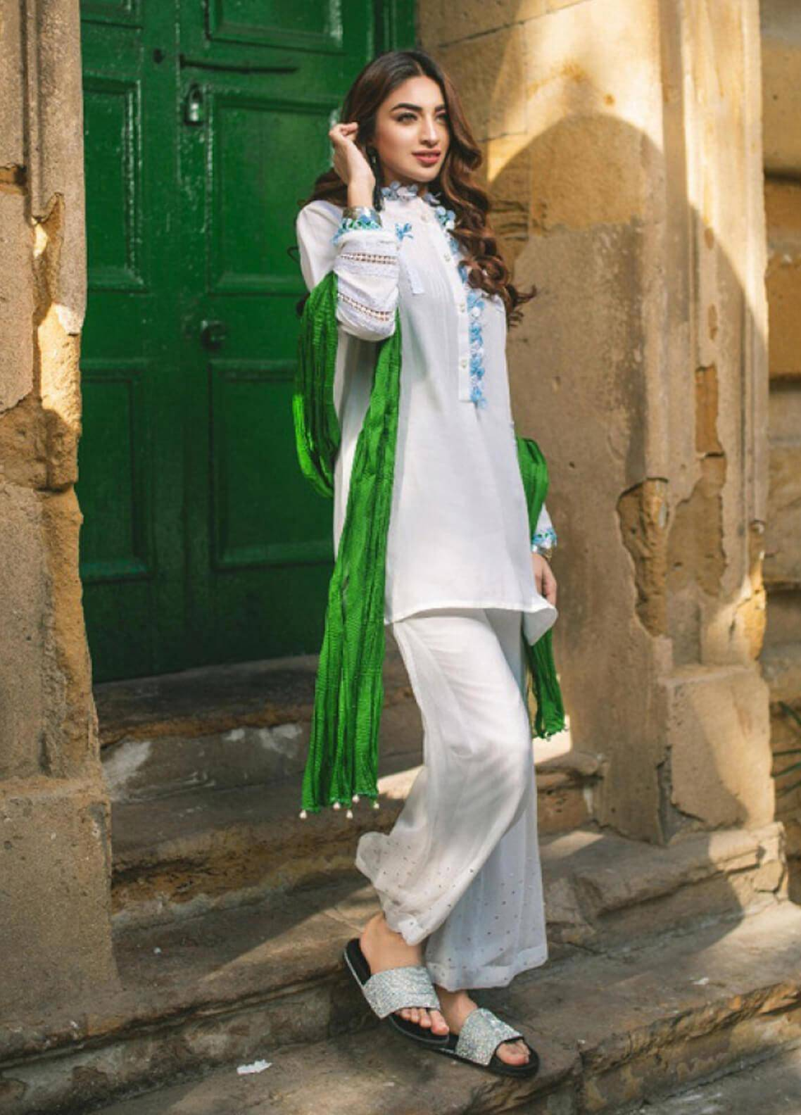 Change Embroidered Cotton Net Stitched Kurtis CB-71 White