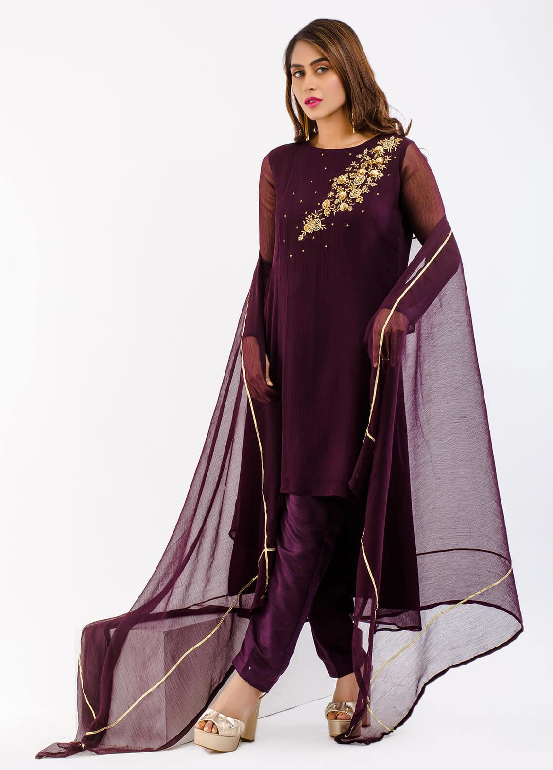 Change Embroidered Chiffon Stitched 3 Piece Suit CK2130 PLUM