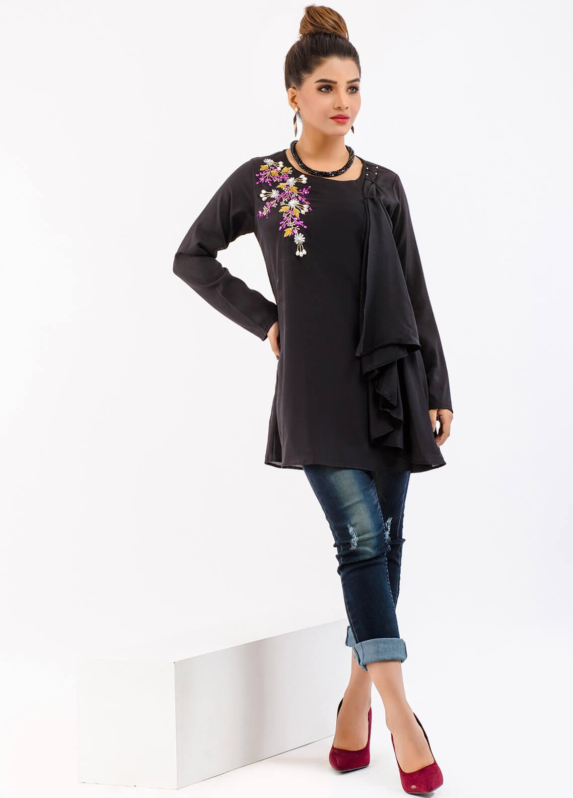 Change Embroidered Georgette Stitched Kurtis CW1804 Black