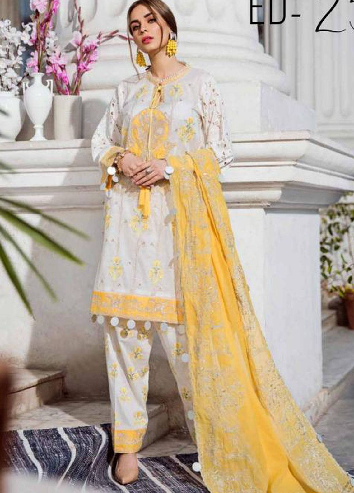 Charizma Embroidered Schiffli Unstitched 3 Piece Suit CRZ19F ED-25 - Festive Collection