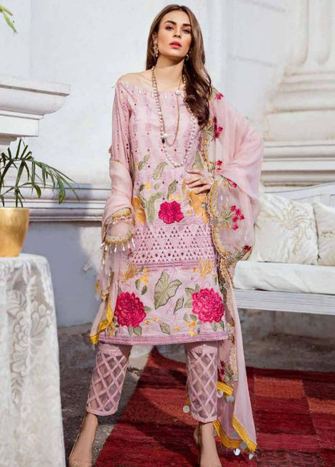 Charizma Embroidered Schiffli Unstitched 3 Piece Suit CRZ19F ED-27 - Festive Collection