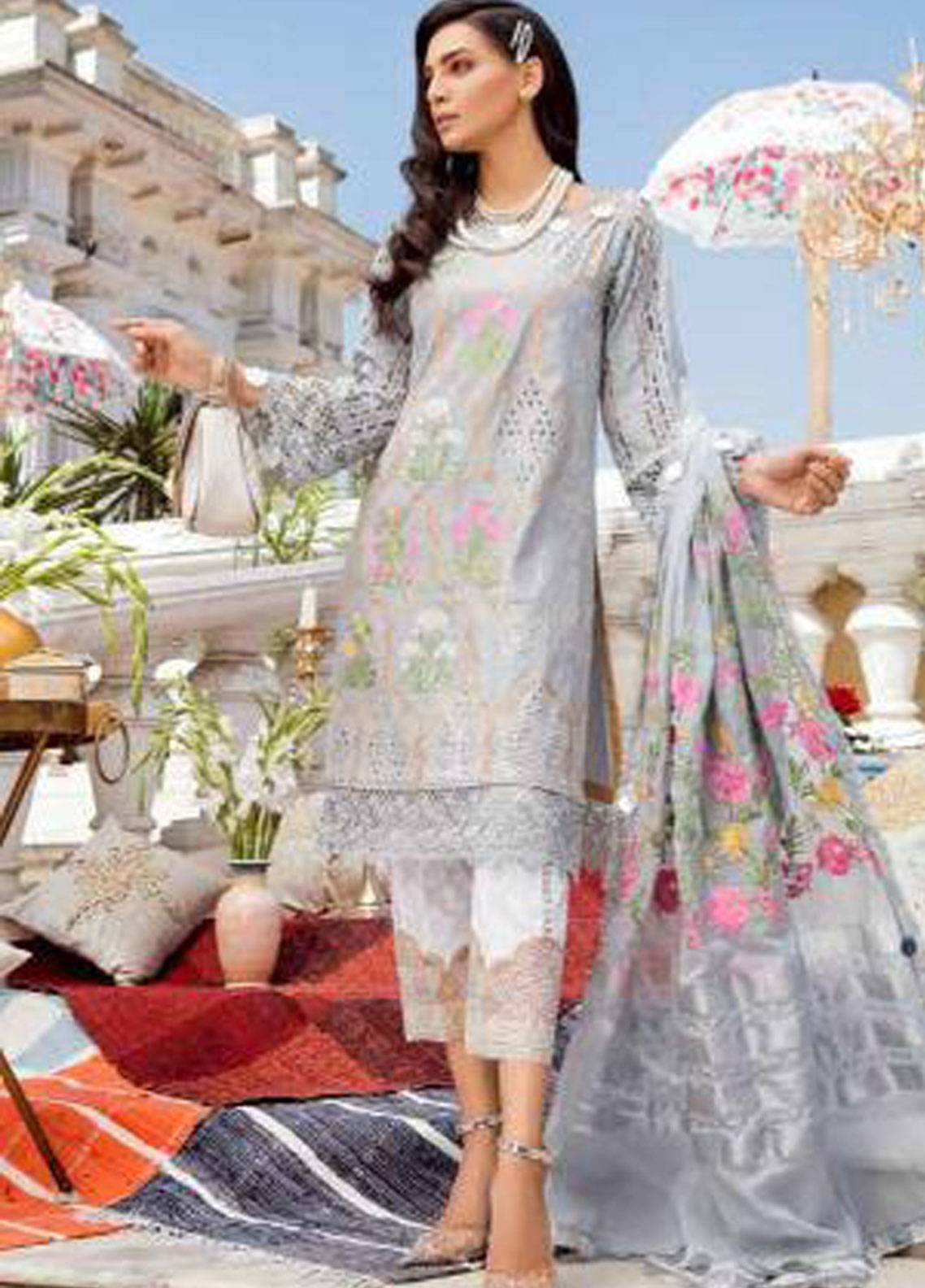 Charizma Embroidered Schiffli Unstitched 3 Piece Suit CRZ19F ED-29 - Festive Collection