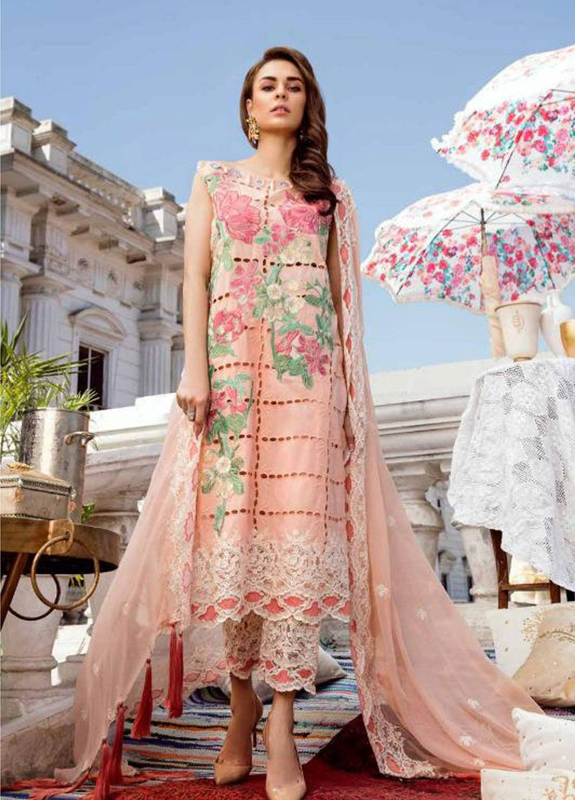 Charizma Embroidered Schiffli Unstitched 3 Piece Suit CRZ19F ED-30 - Festive Collection