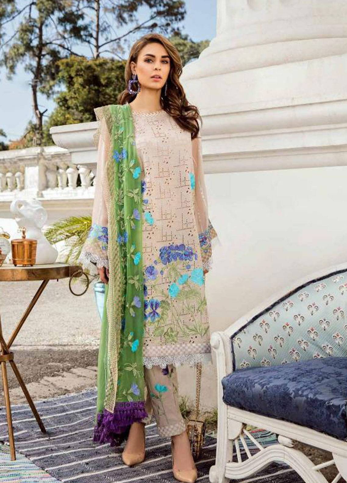 Charizma Embroidered Schiffli Unstitched 3 Piece Suit CRZ19F ED-31 - Festive Collection
