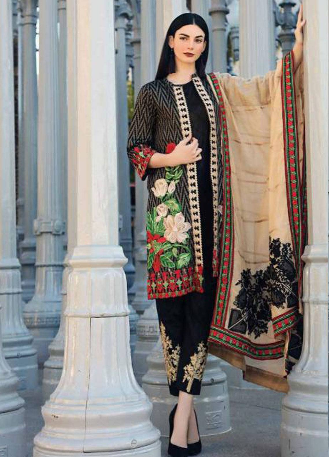 Charizma Embroidered Jacquard Unstitched 3 Piece Suit CRZ19J 04 - Spring / Summer Collection