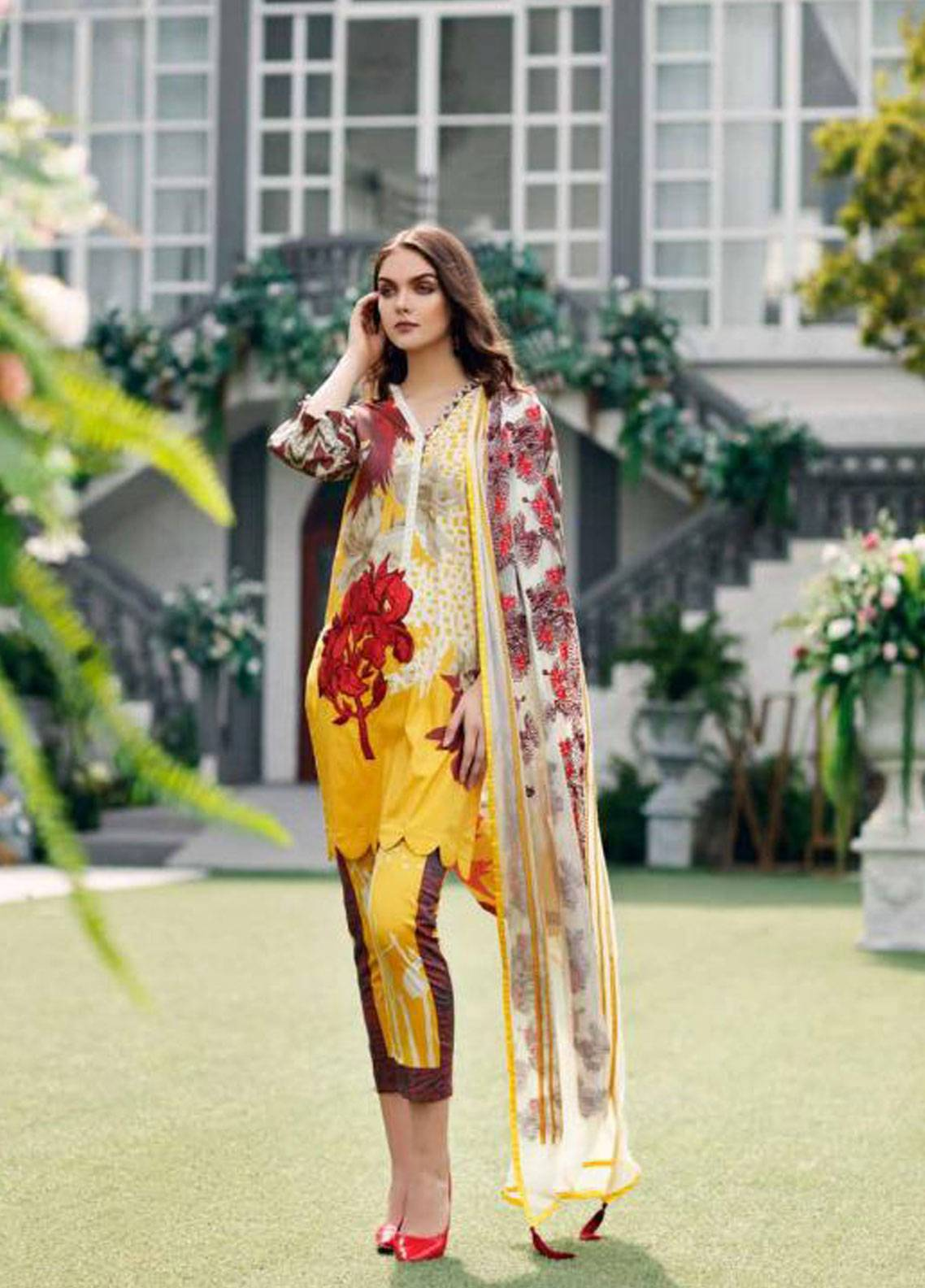 Charizma Naranji Embroidered Lawn Unstitched 3 Piece Suit CRZ19N 14 - Spring / Summer Collection