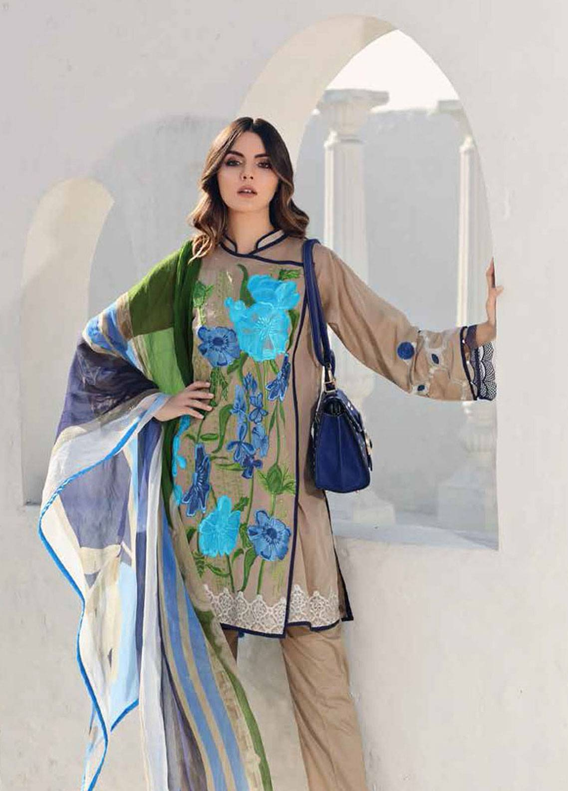 Charizma Embroidered Swiss Voile Unstitched 3 Piece Suit CRZ19S 5 - Spring / Summer Collection