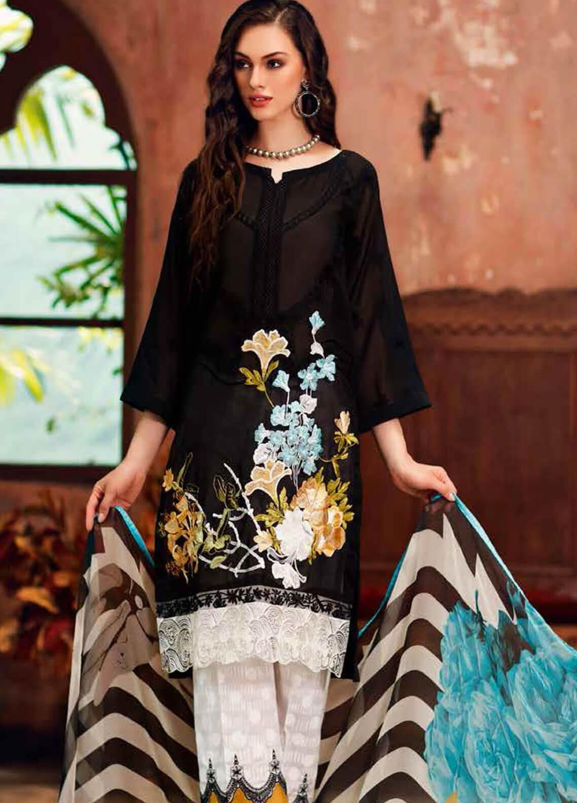 Charizma Embroidered Swiss Voile Unstitched 3 Piece Suit CRZ19-S3 25 - Eid Collection