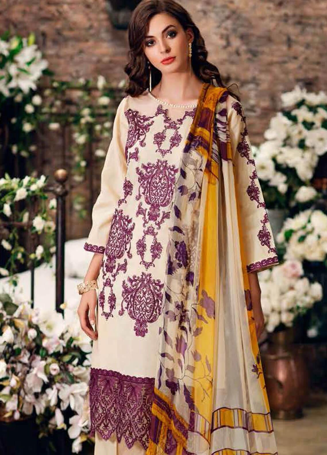Charizma Embroidered Swiss Voile Unstitched 3 Piece Suit CRZ19-S3 32 - Eid Collection