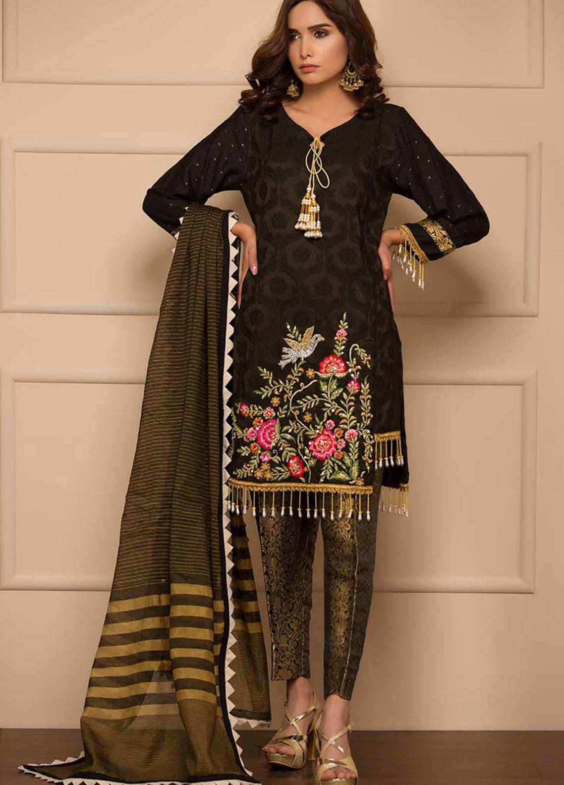 Chic Ophicial Embroidered Missouri Stitched 3 Piece Suit A-symmetrical Black