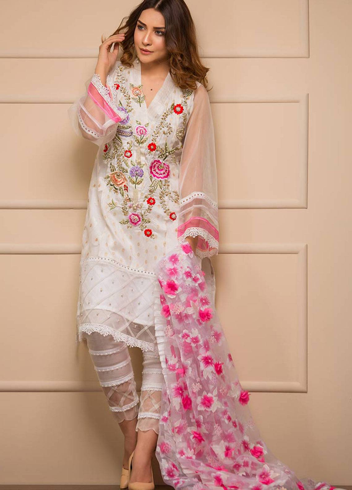 Chic Ophicial Embroidered Organza Stitched 3 Piece Suit Angellic White