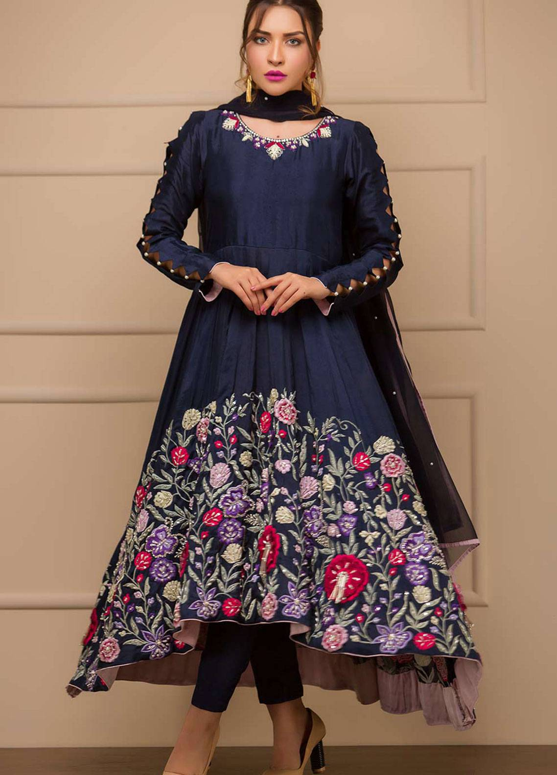 Chic Ophicial Embroidered Cotton Silk Stitched 3 Piece Suit Blue Paradise