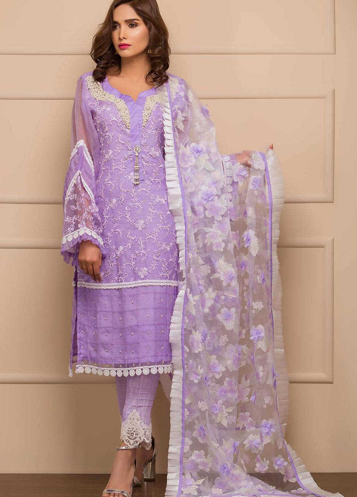 Chic Ophicial Embroidered Organza Stitched 3 Piece Suit Dusky Purple