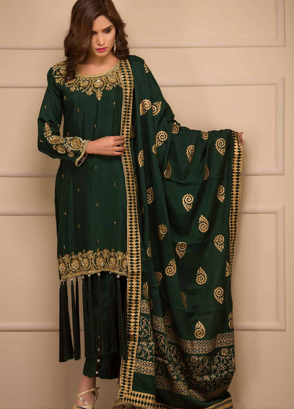 Chic Ophicial Embroidered Cotton Silk Stitched 3 Piece Suit Graceful Green