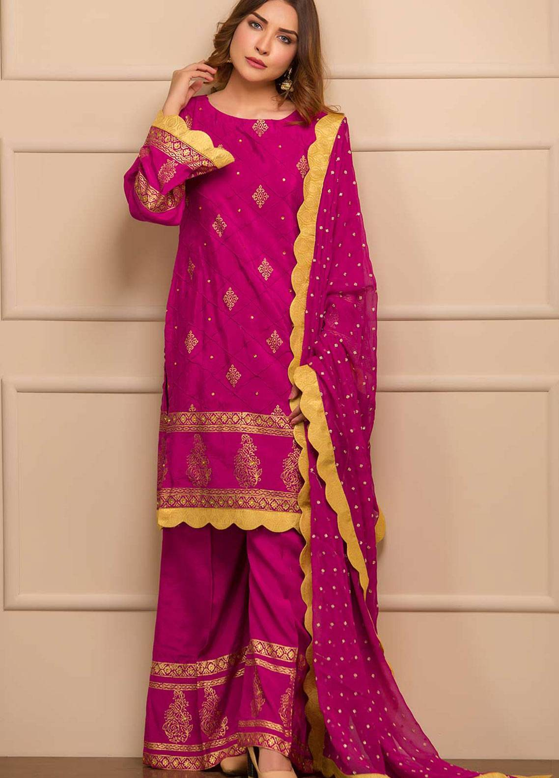 Chic Ophicial Embroidered Cotton Silk Stitched 3 Piece Suit Magical Magenta