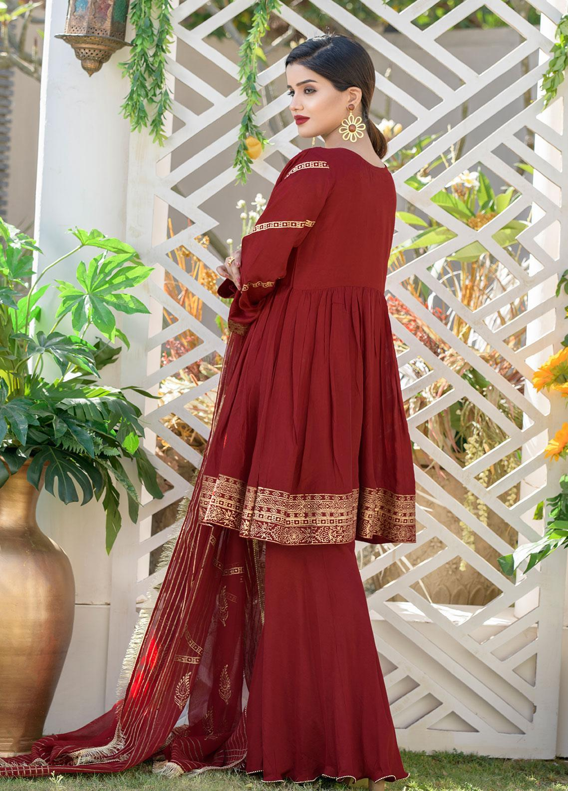 Chic Ophicial Embroidered Cotton Silk Stitched 3 Piece Suit CH05 Made for Maroon