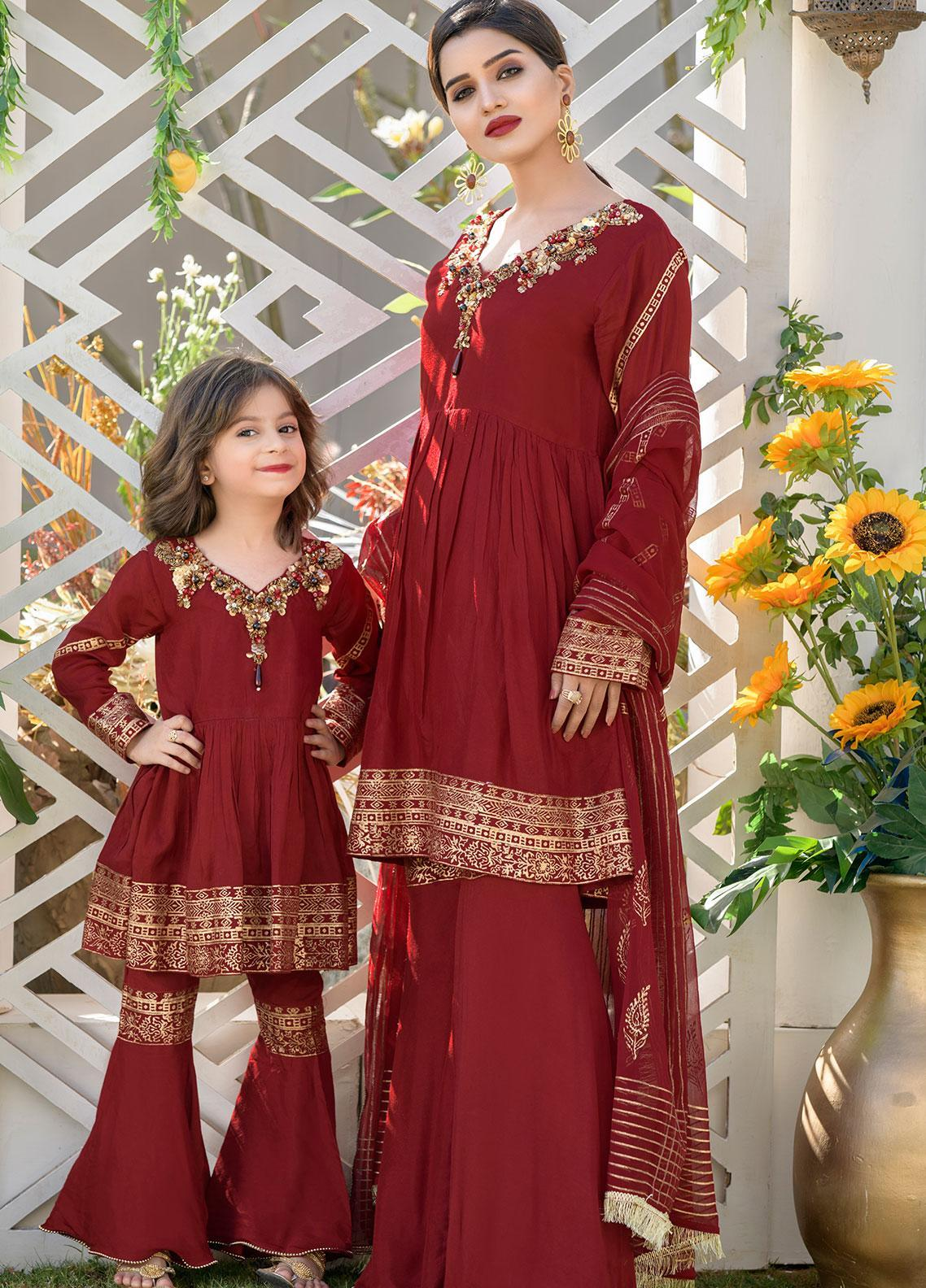 Chic Ophicial Cotton Silk Formal Girls 2 Piece Suit -  CH06 Made for Maroon