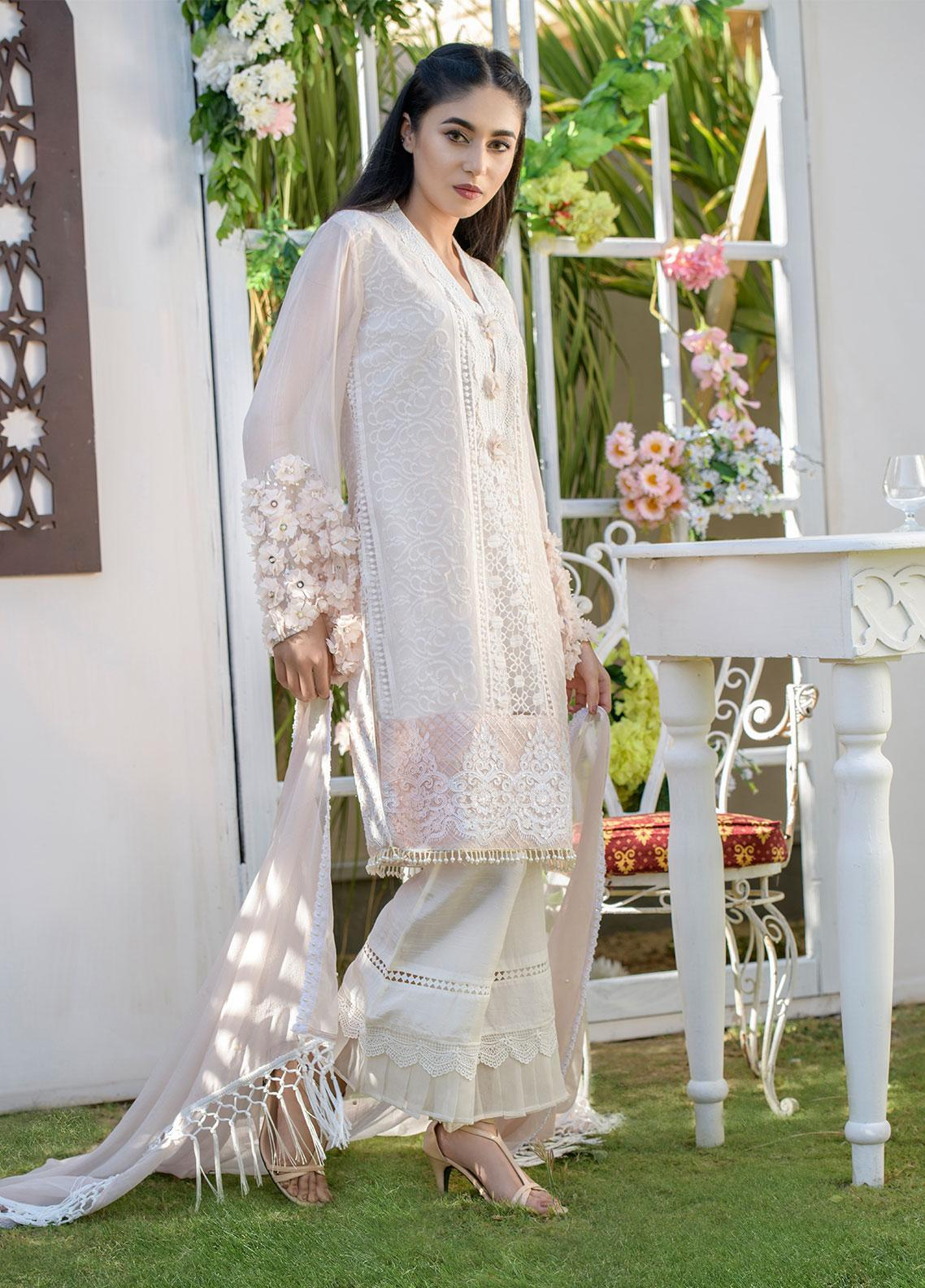 Chic Ophicial Embroidered Chiffon Stitched 3 Piece Suit CH07 Floral Peach