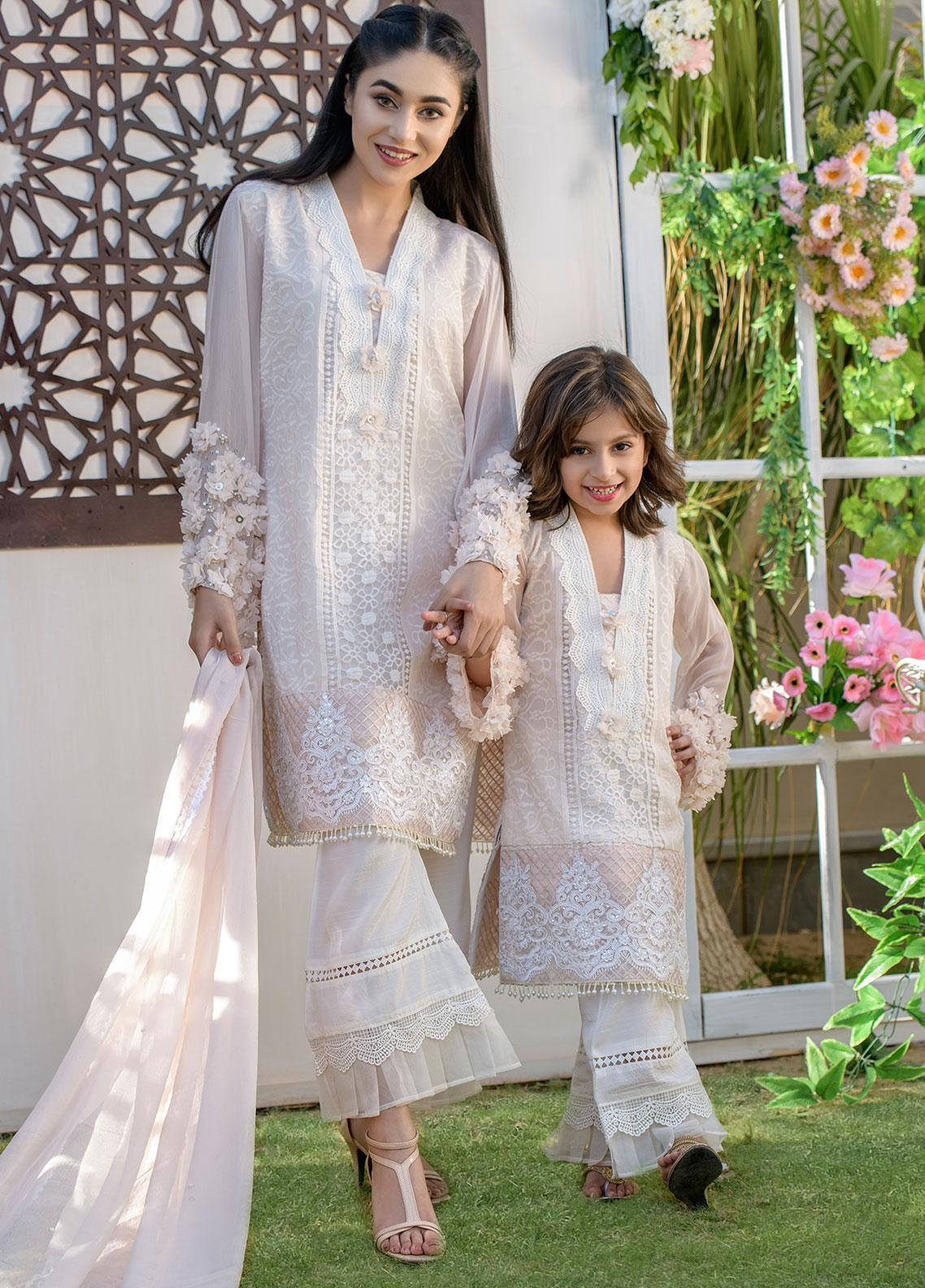 Chic Ophicial Chiffon Formal 2 Piece Suit for Girls -  CH08 Floaral Peach