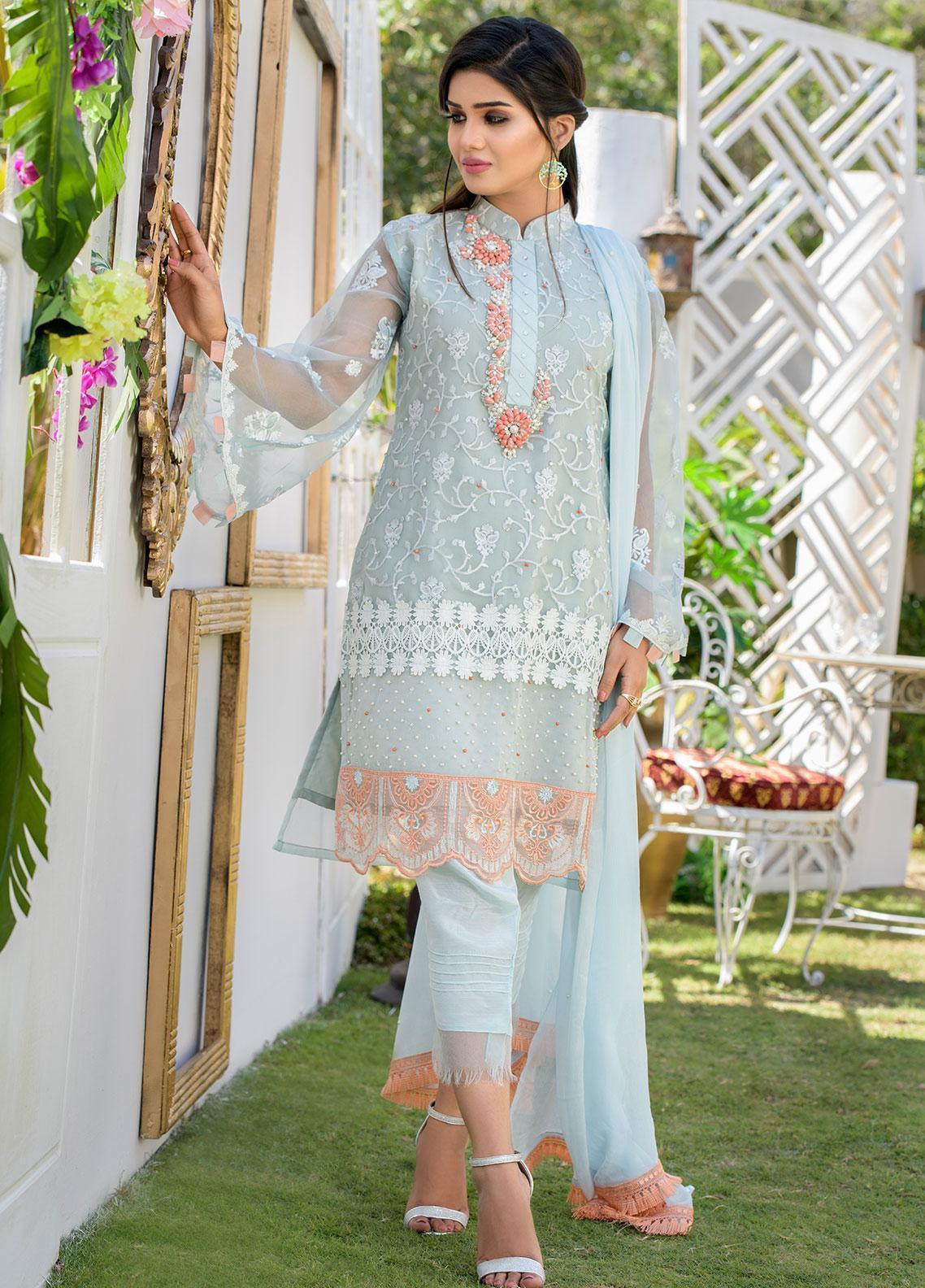 Chic Ophicial Embroidered Organza Stitched 3 Piece Suit CH11 Ice Blue Eden