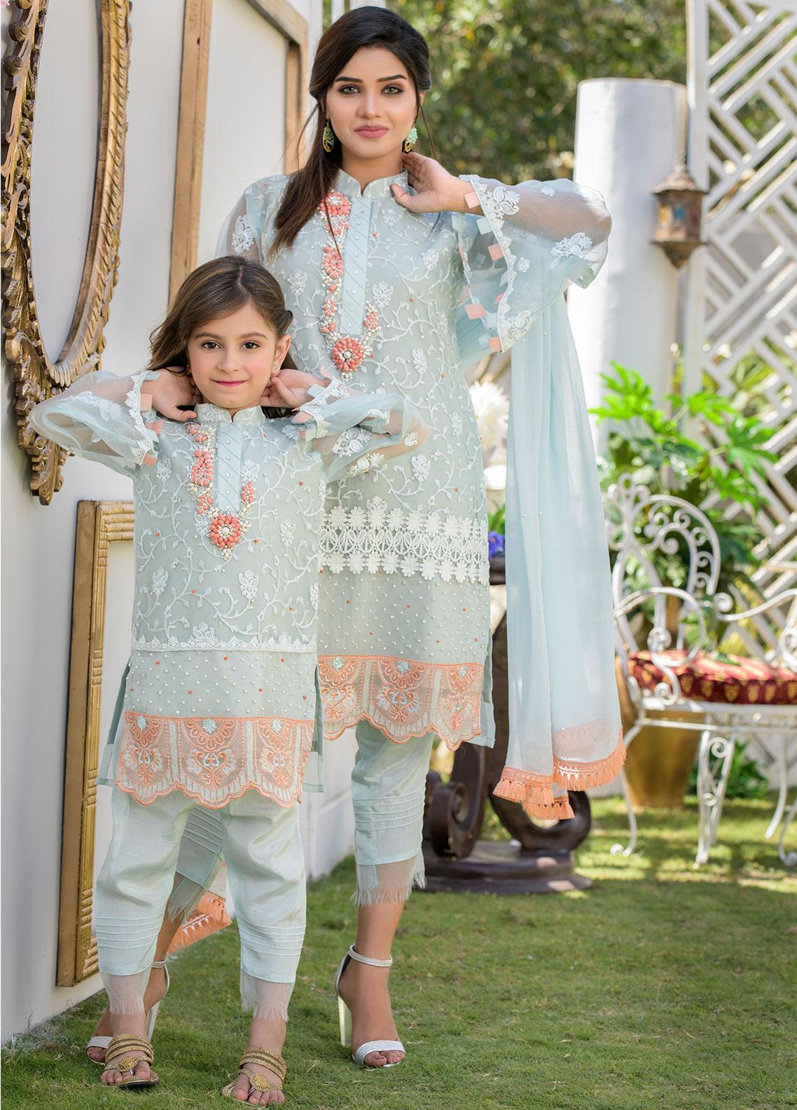Chic Ophicial Organza Formal Girls 2 Piece Suit -  CH12 Ice Blue Eden