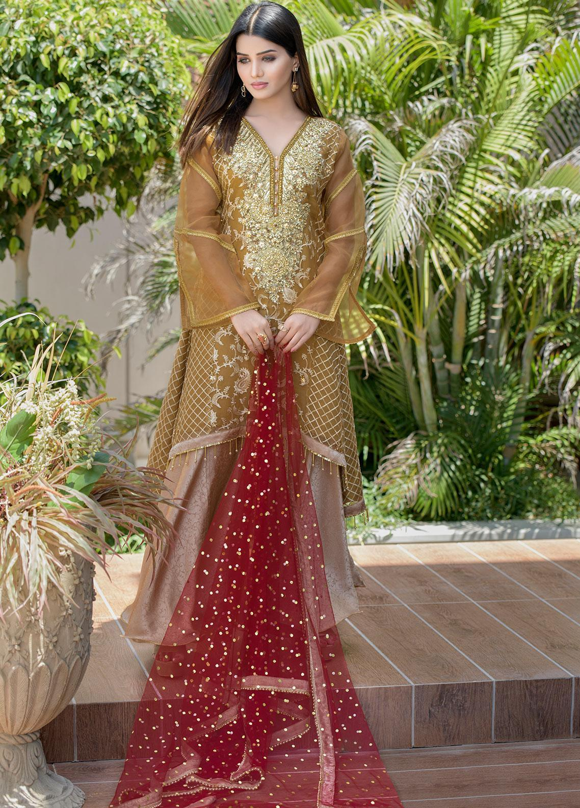 Chic Ophicial Embroidered Organza Stitched 3 Piece Suit CH13 Blooming Brown