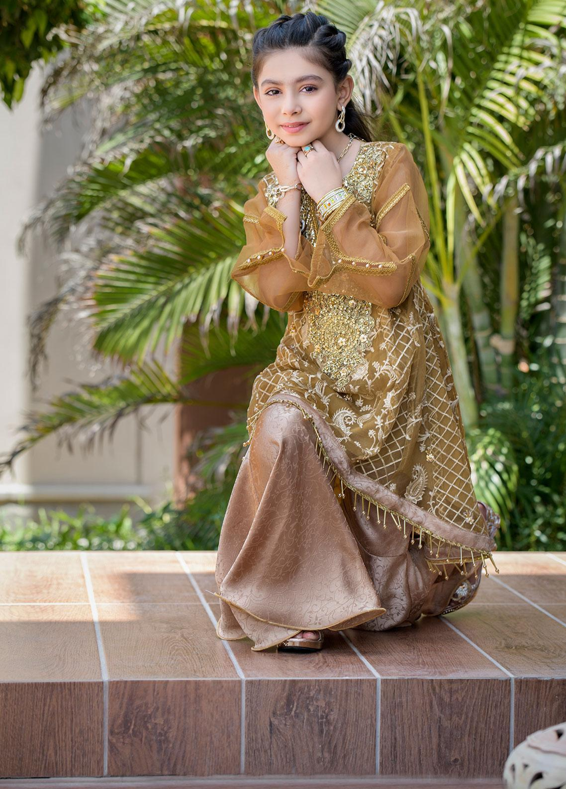 Chic Ophicial Organza Formal 2 Piece Suit for Girls -  CH14 Blooming Brown