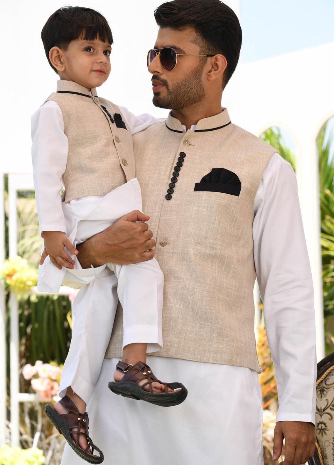 Chic Ophicial Cotton Formal Kurta Pajama with Waistcoat for Men -  CH15 White Divine