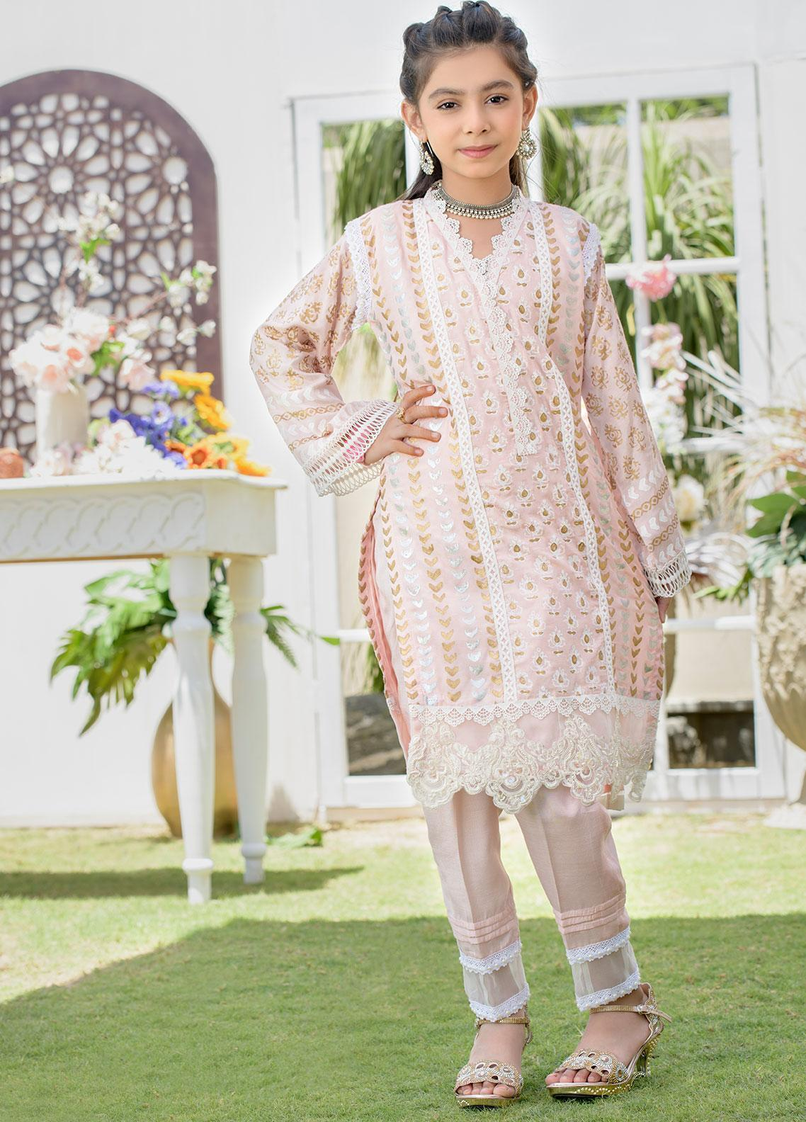Chic Ophicial Raw Silk Formal Girls 2 Piece Suit -  CH18 Peach Block Print