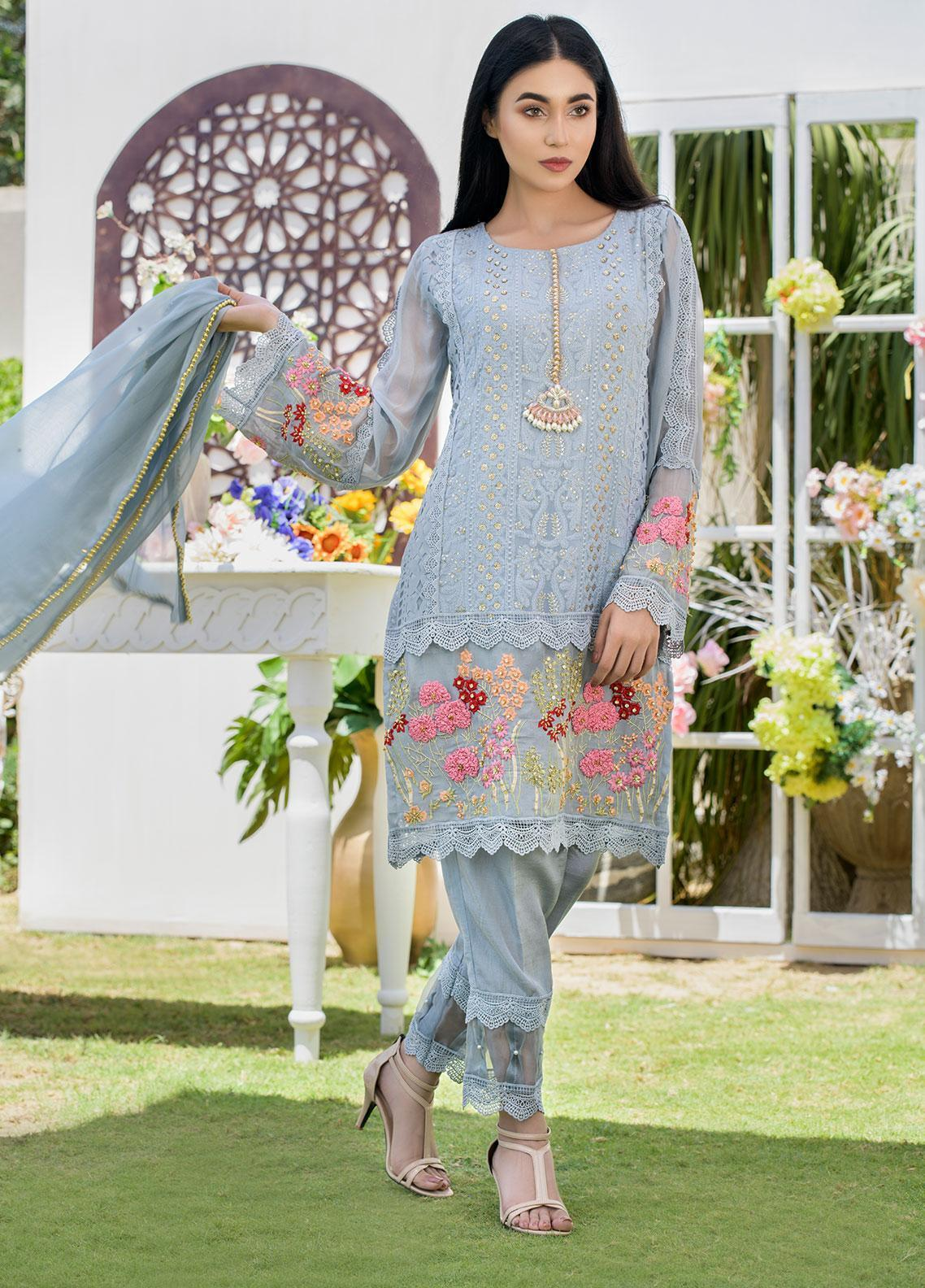 Chic Ophicial Embroidered Chiffon Stitched 3 Piece Suit CH19 Carnation Grey