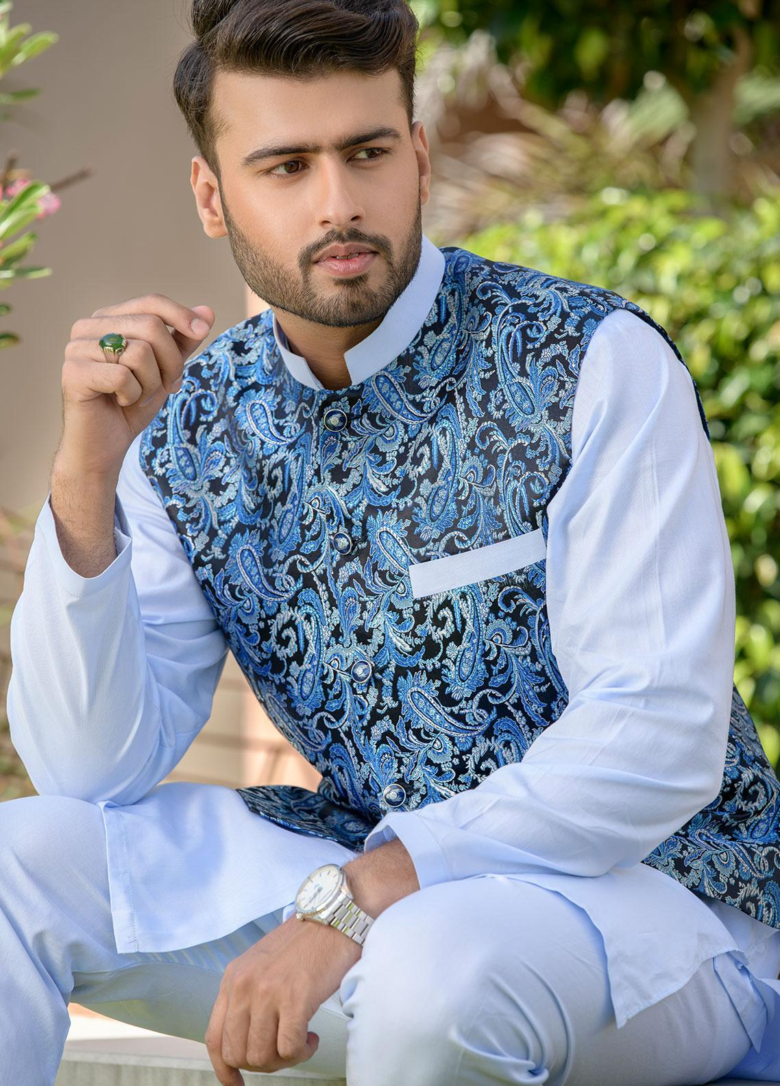 Chic Ophicial Cotton Formal Men Kurta Pajama with Waistcoat -  CH23 Ice Blue Crush