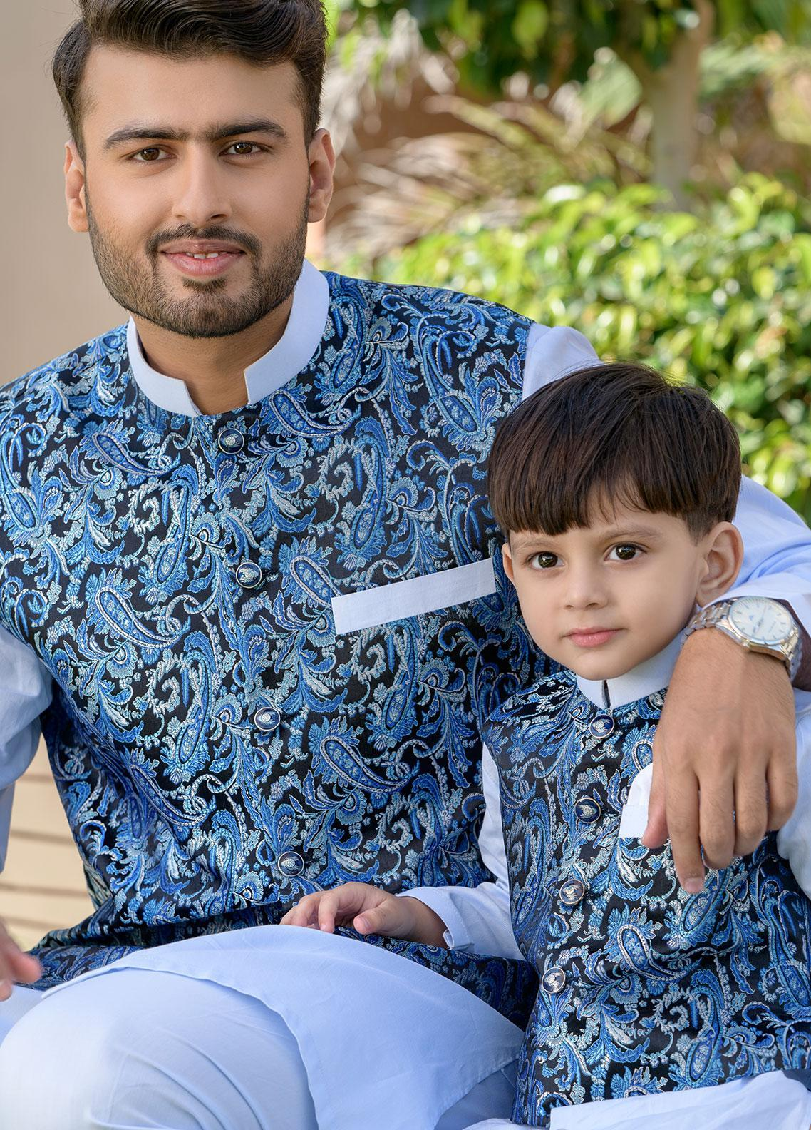 Chic Ophicial Cotton Formal Boys Kurta Pajama with Waistcoat -  CH24 Ice Blue Crush