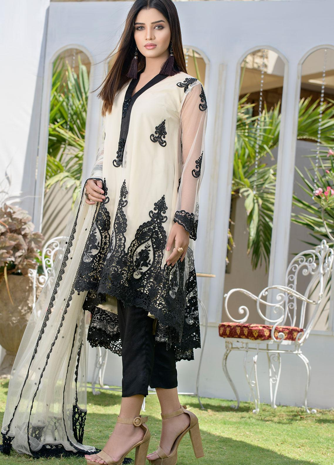 Chic Ophicial Embroidered Chiffon Stitched 3 Piece Suit CH25 Oreo