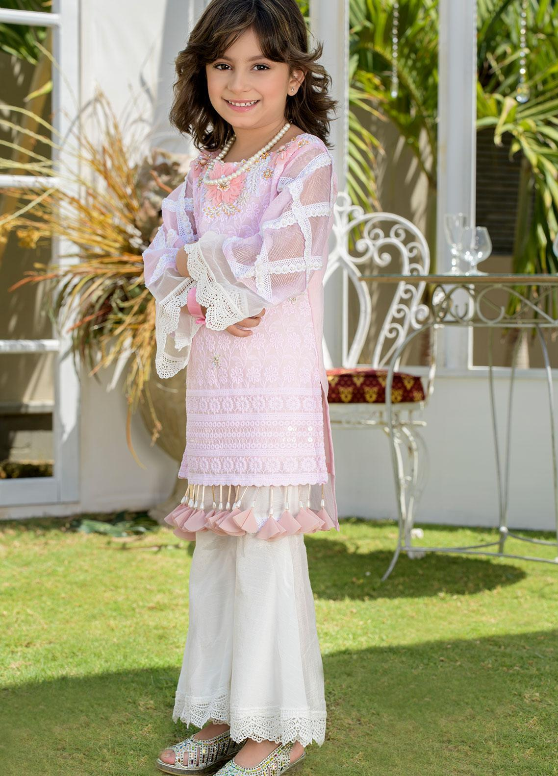 Chic Ophicial Chikankari Formal Girls 2 Piece Suit -  CH28 Angellic Pink
