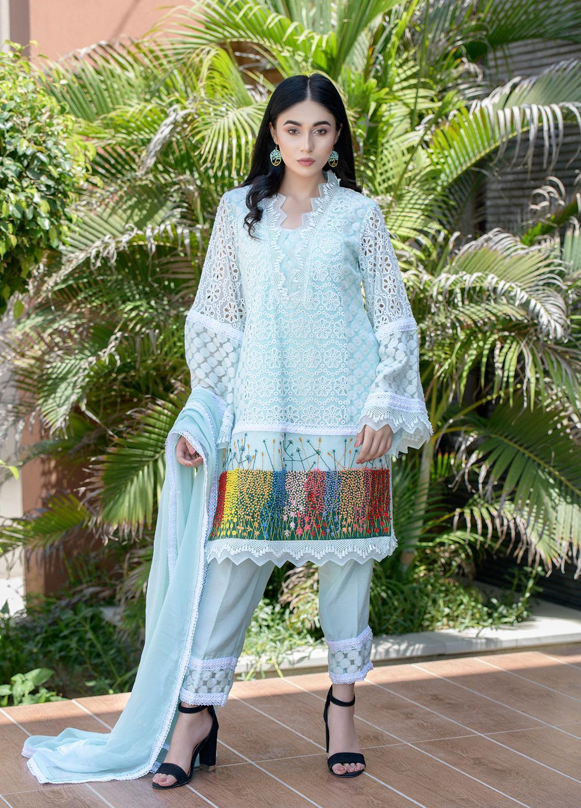 Chic Ophicial Embroidered Zari Net Stitched 3 Piece Suit CH33 Aqua Blossom