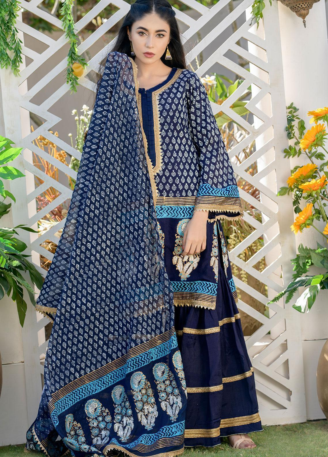 Chic Ophicial Embroidered Cotton Silk Stitched 3 Piece Suit CH35 Iconic Blue