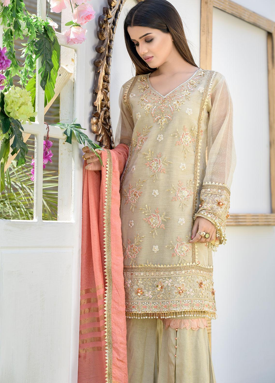 Chic Ophicial Embroidered Khaadi Net Stitched 3 Piece Suit CH37 Peachy Gold
